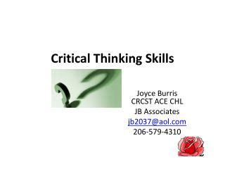 Critical Thinking in Nursing Education is Important All